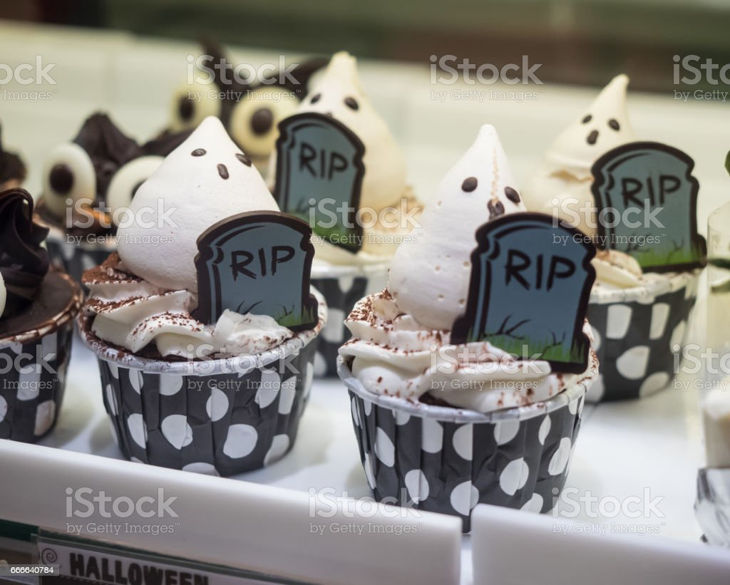 Fancy halloween cupcakes stock photo