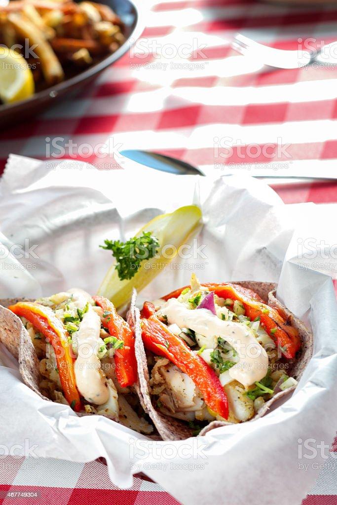 Fancy Healthy Fish Tacos stock photo