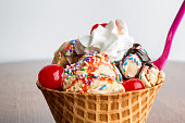 Fancy Ice Cream Sundae with Hot Fudge, Sprinkles, Cherries