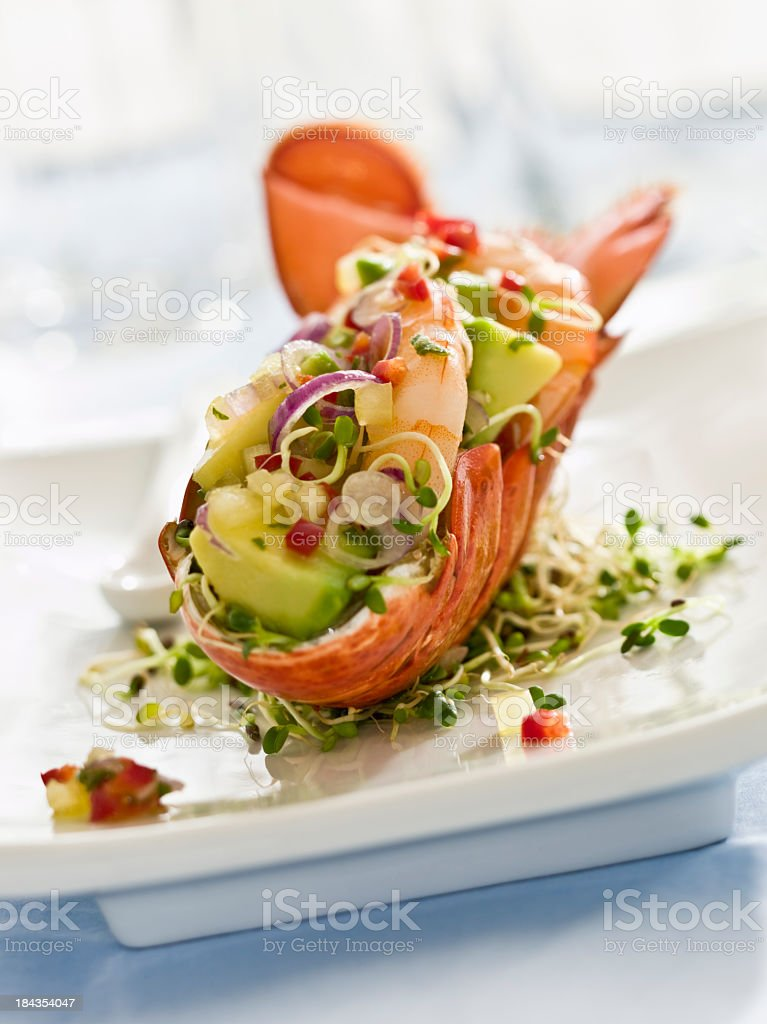 Fancy lobster salad on a white plate royalty-free stock photo