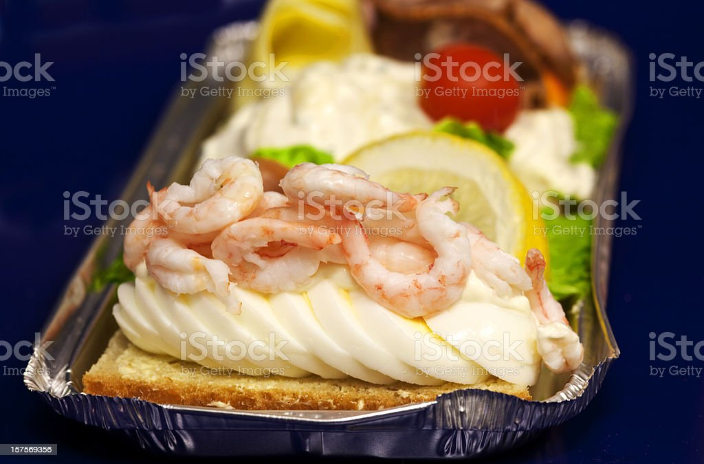 Fancy open sandwich with shrimp and sliced egg. stock photo