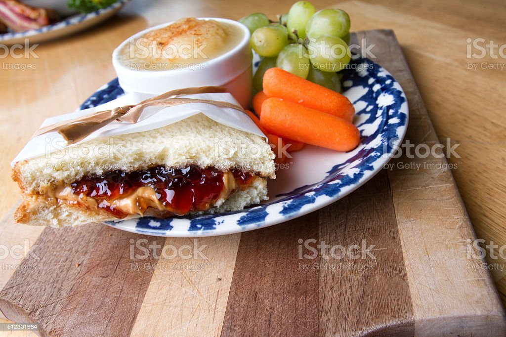 Fancy Peanut Butter and Jelly Sandwich Lunch stock photo