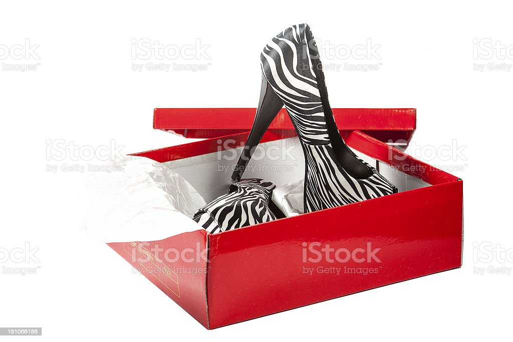 Fancy platform High Heels with a red box royalty-free stock photo