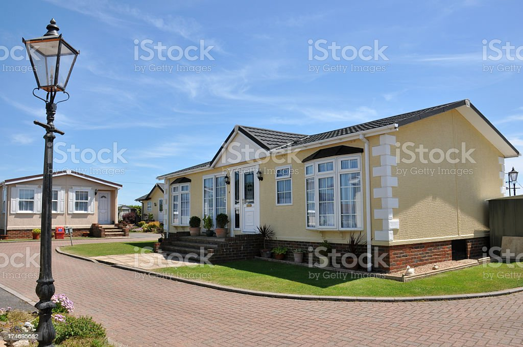 Fancy residential mobile home on beautiful property stock photo