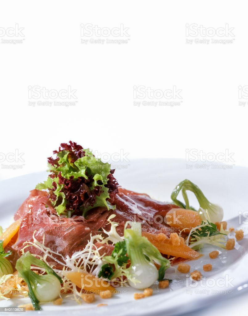 Fancy salad with prosciutto stock photo