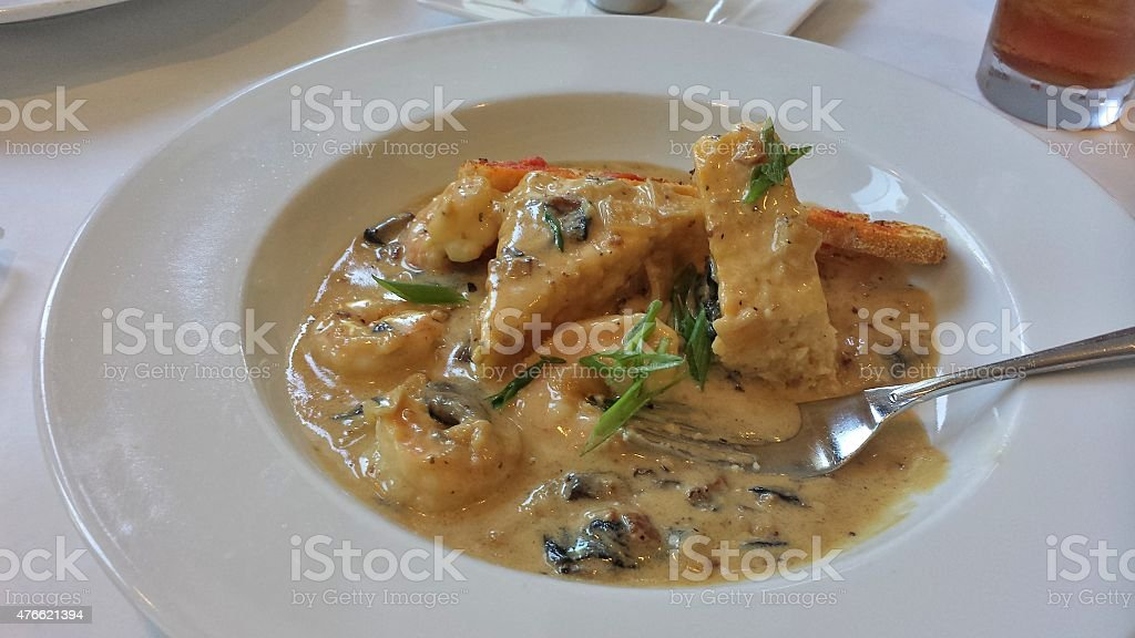 Fancy Shrimp and Grit Cakes stock photo