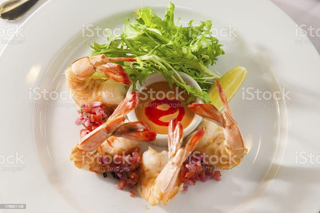 Fancy shrimp cocktail appetizer. royalty-free stock photo