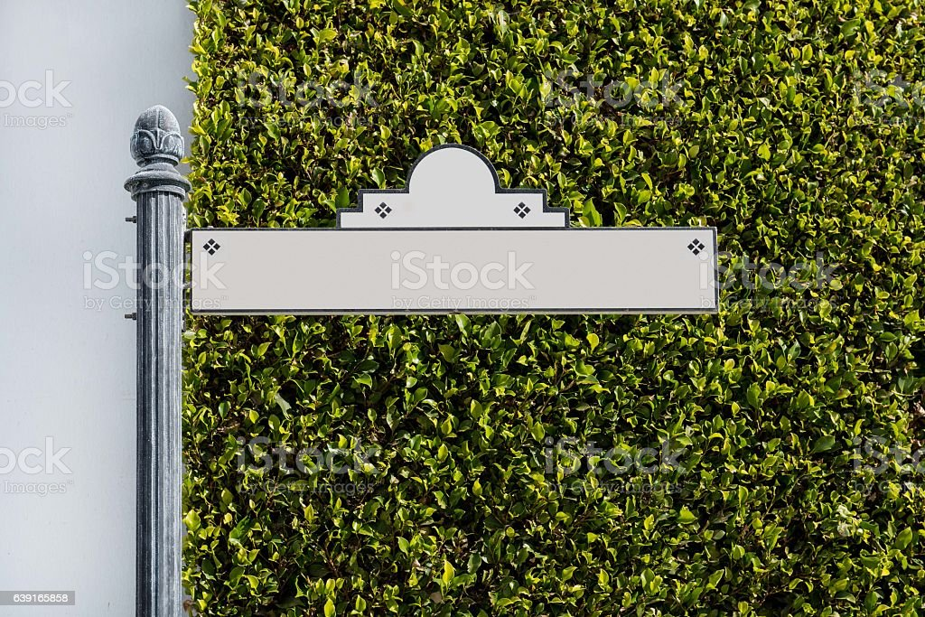 Fancy Street Sign Against Green Hedge stock photo