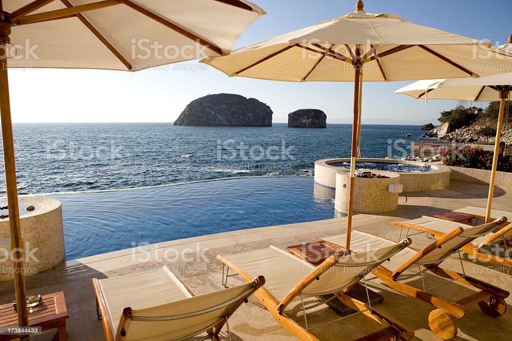 Fancy villa sundeck near the sea stock photo