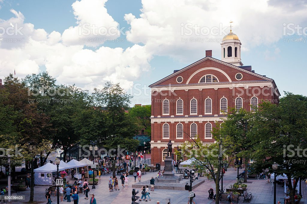 Faneuil Hall along Freedom Trail in Boston, MA stock photo