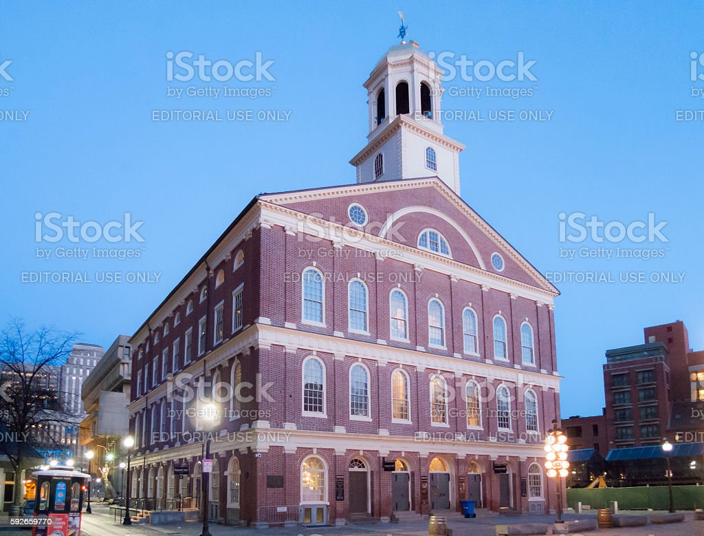 Faneuil Hall at dawn stock photo