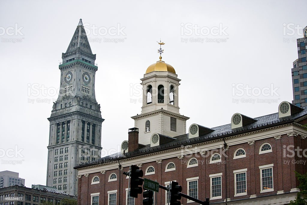Faneuil Hall with Custom House Tower in background, Boston stock photo