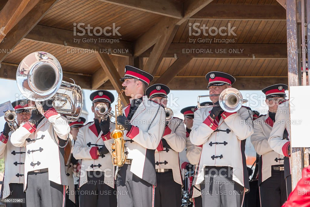 fanfare band at a kiosk stock photo