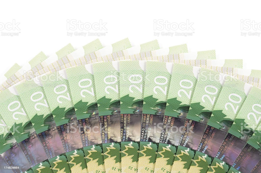 Fanned Out Canadian Twenty Dollar (20) Bills royalty-free stock photo
