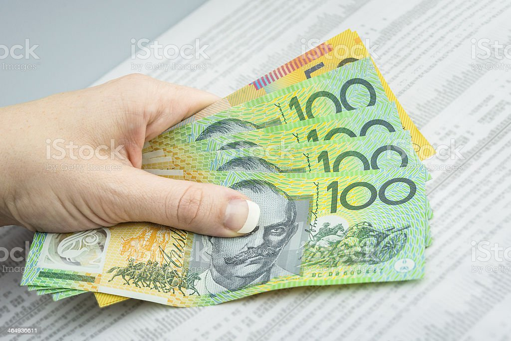 A fanned out stack of Australian hundred dollar bills stock photo