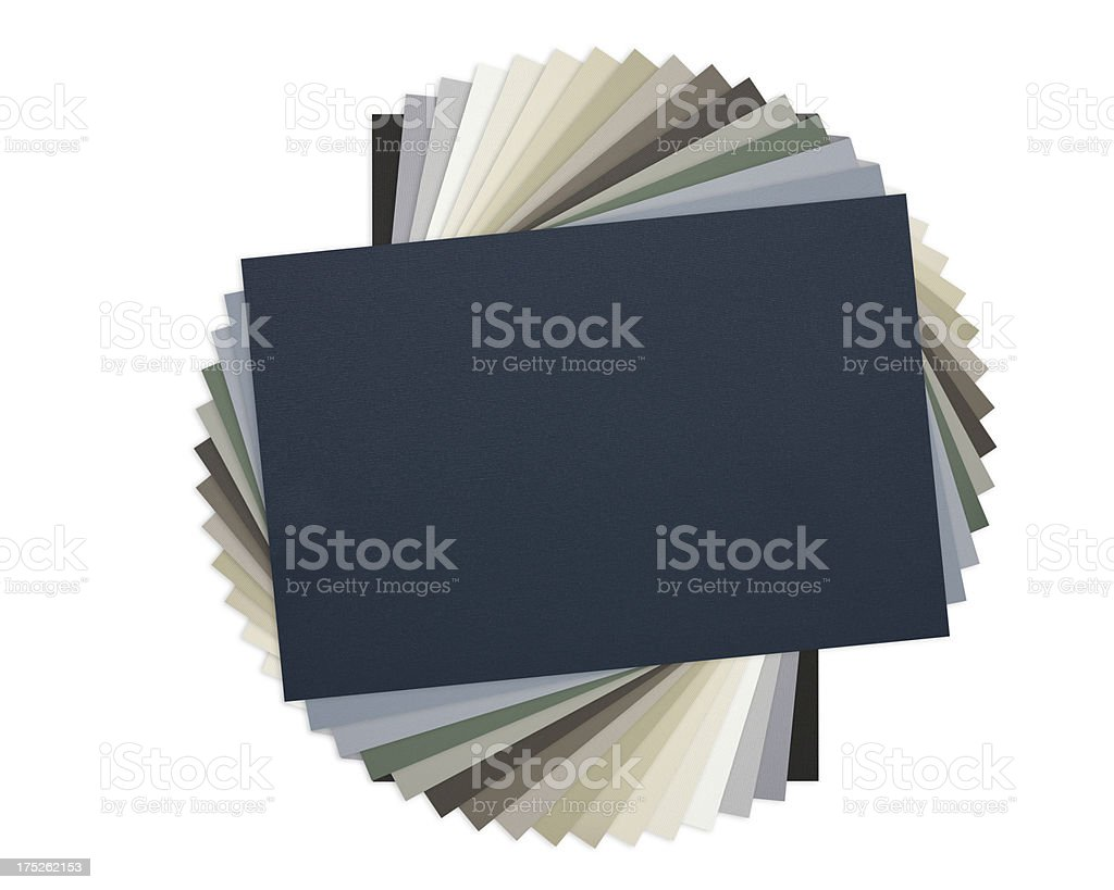 Fanned out textured fabric or wallpaper range stock photo