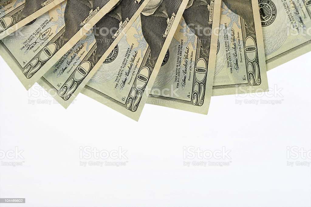 Fanned Twenties royalty-free stock photo