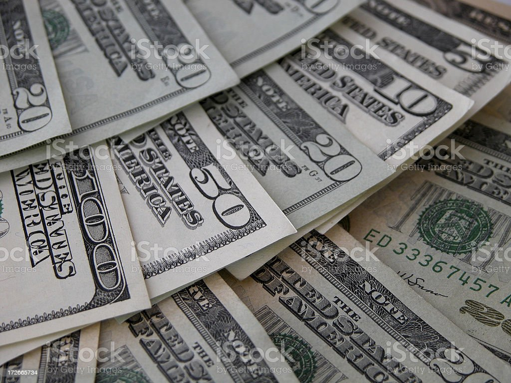 Fanned US bills royalty-free stock photo