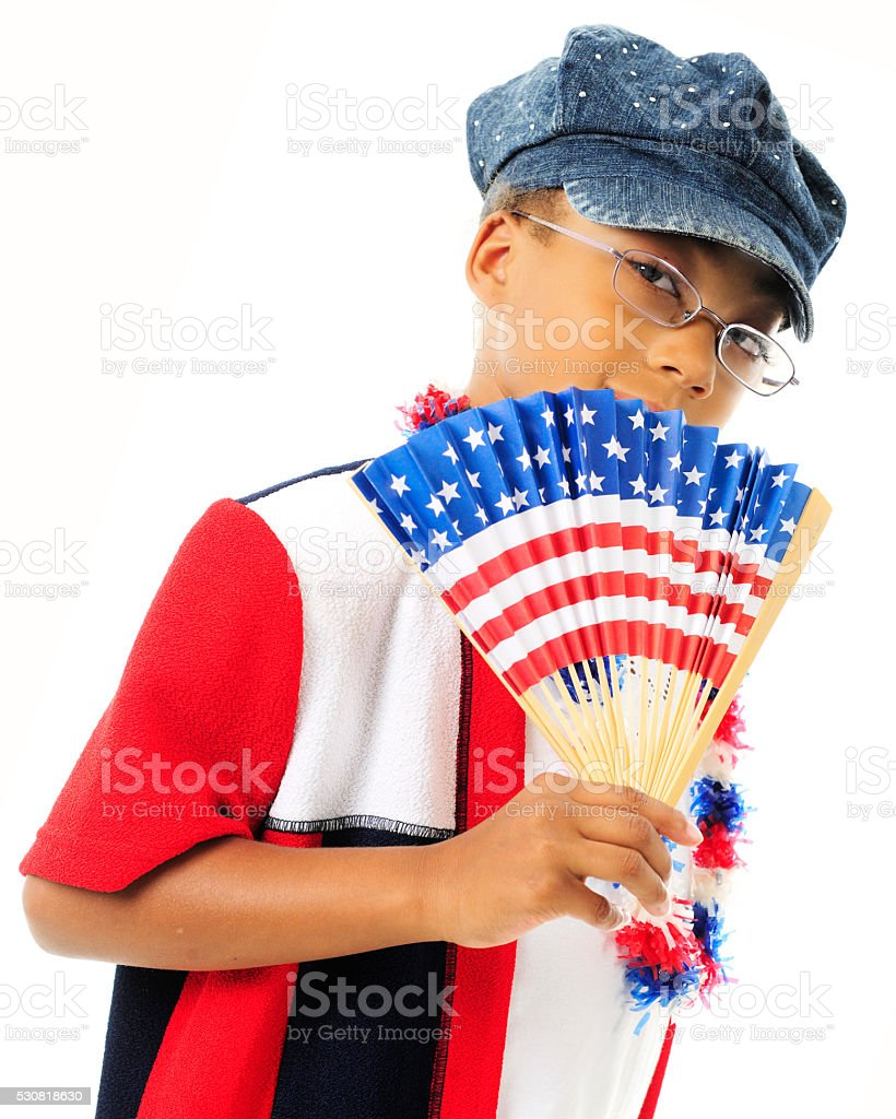 Fanning Young US Patriot stock photo