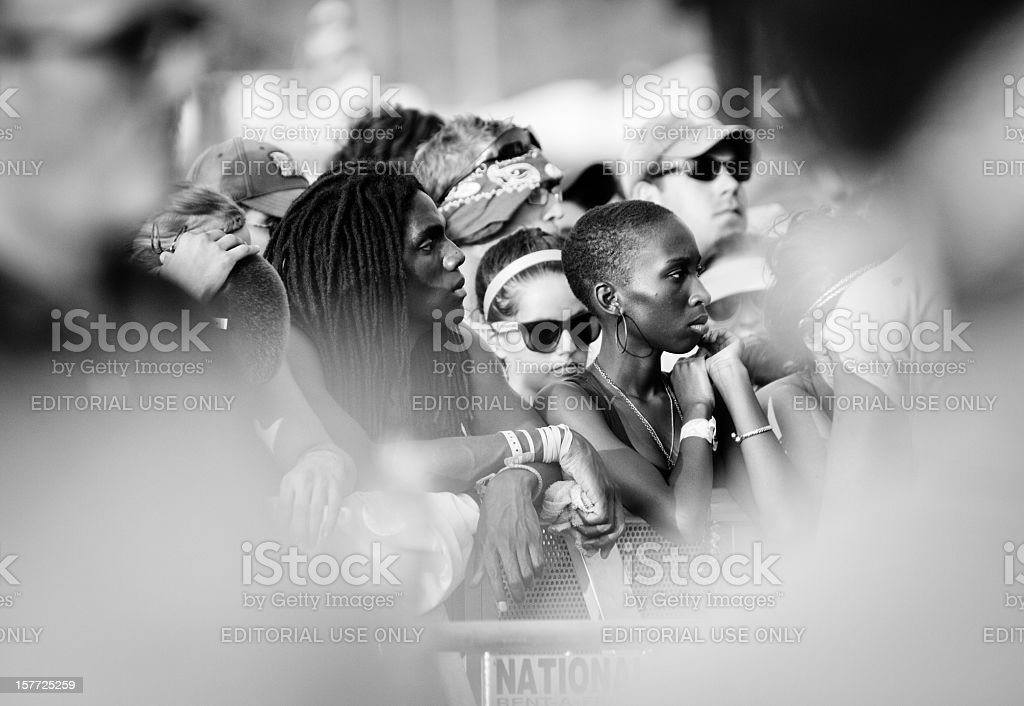 Fans at a music festival stock photo