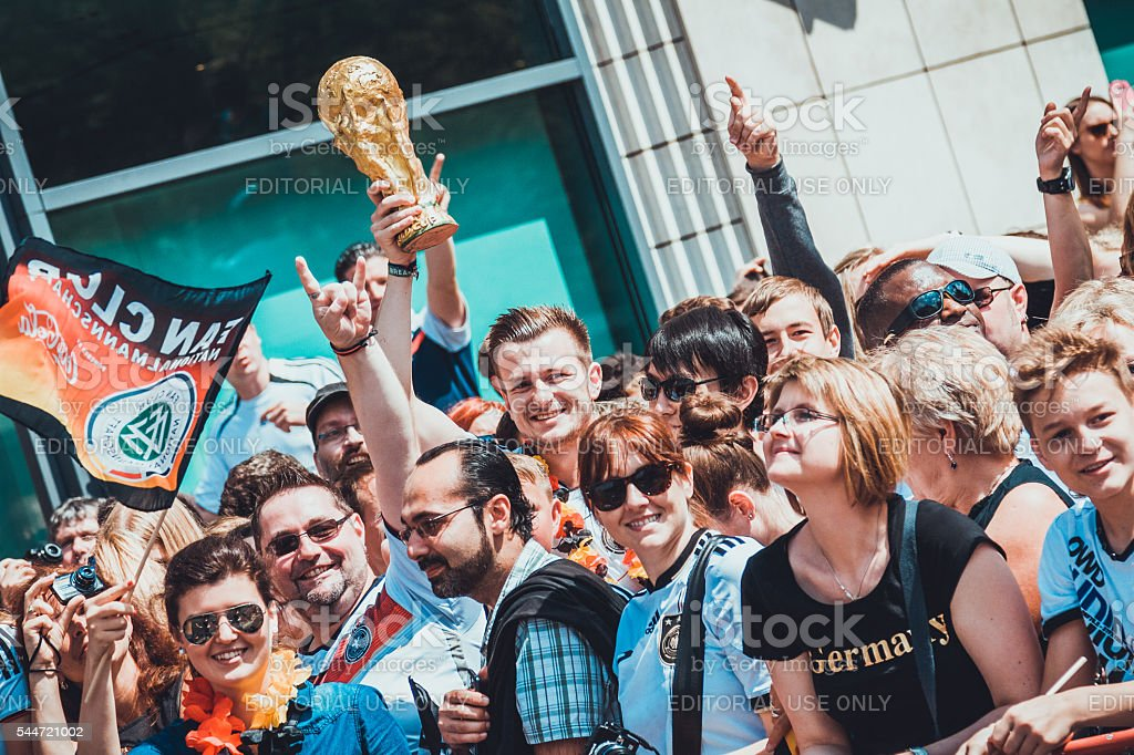 Fans at public viewing area stock photo