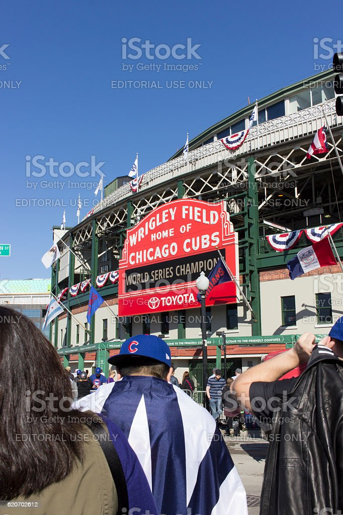 Fans at Wrigley Field Day After World Series Win 2016 stock photo