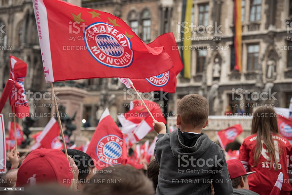 Fans celebrating for FC Bayern Munich for winning the Bundesliga title stock photo