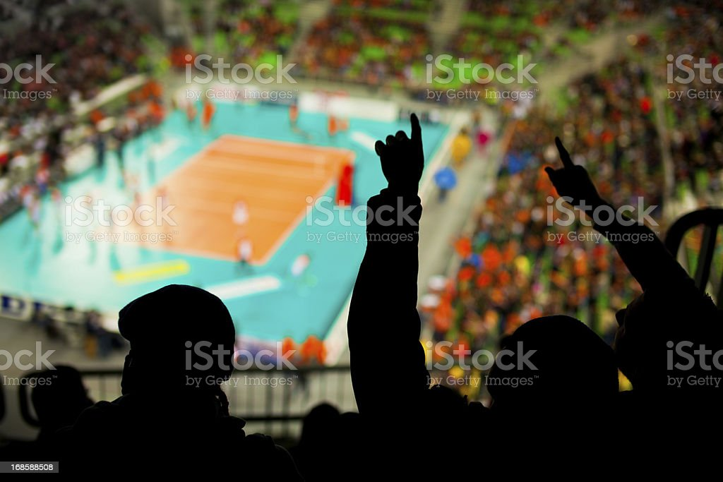 Fans cheering at the sport event stock photo