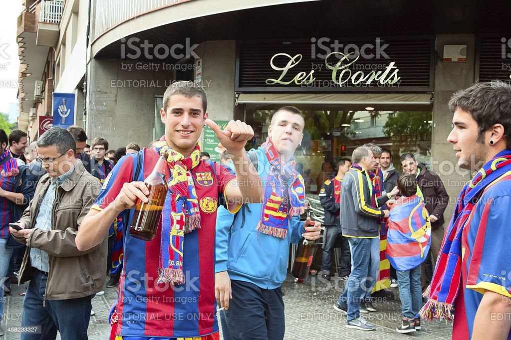 fans of barcelona fc royalty-free stock photo