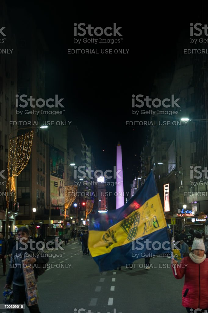 Fans of Boca Juniors celebrate the First division championship stock photo