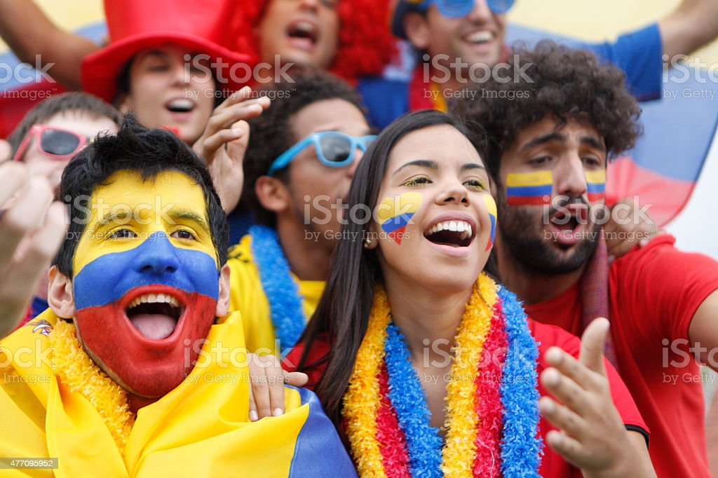 Fans of Colombia stock photo