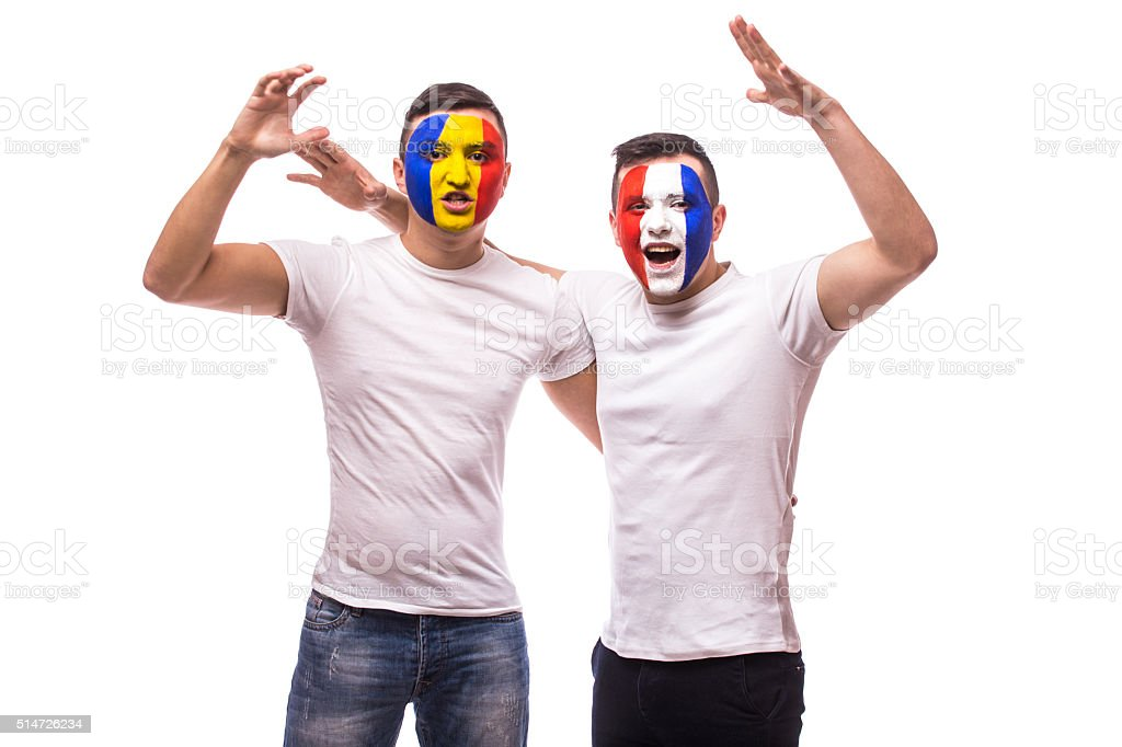 Fans of France and Romania national teams friendly support together stock photo