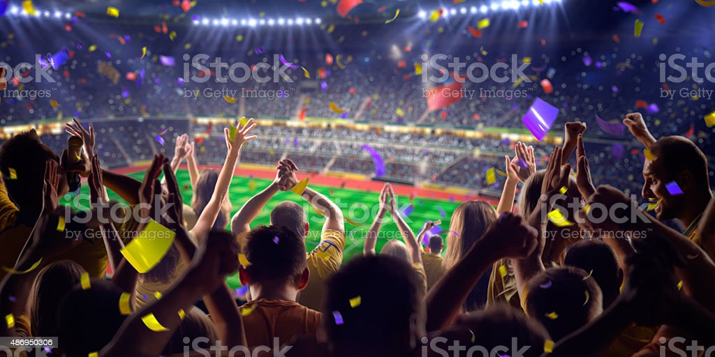 Fans on stadium game panorama view stock photo