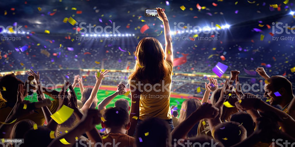 Fans on stadium game panorama view stock photo