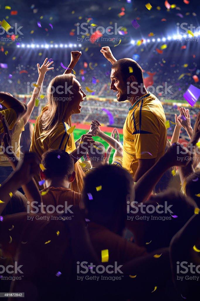 Fans on stadium game stock photo
