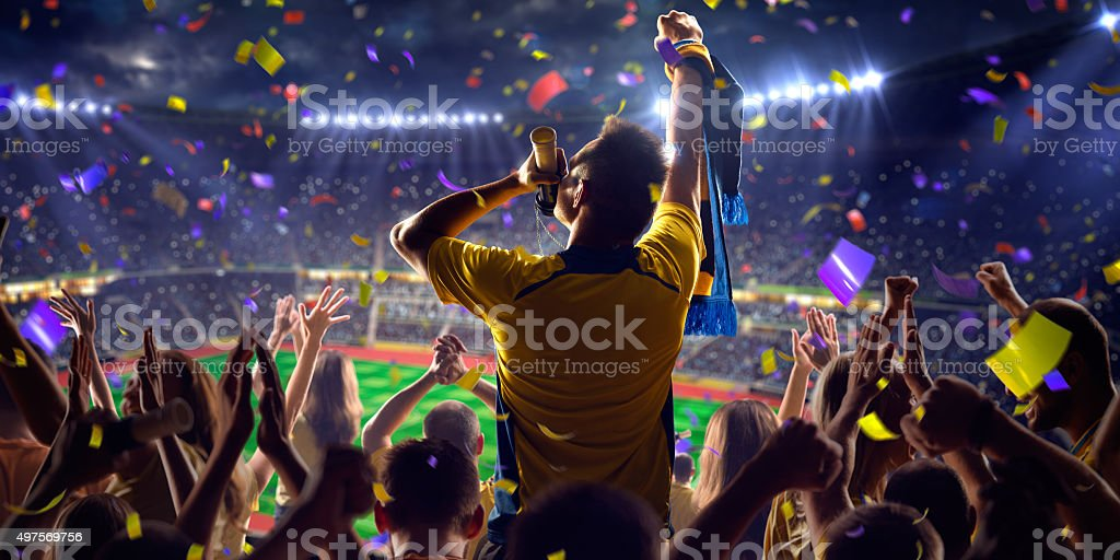 Fans on stadium game stock photo