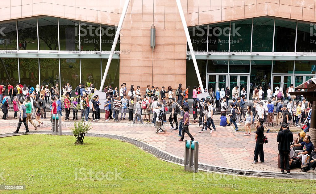 Fans waiting for opening the 2014 Comic Fiesta. stock photo