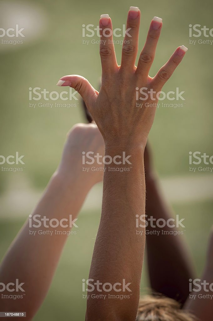 Fans with raised arms cheering for their team - I royalty-free stock photo