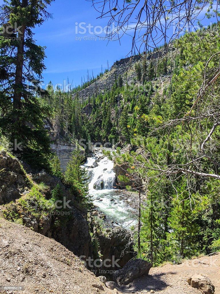 fantabulous waterfall in Yellowstone stock photo