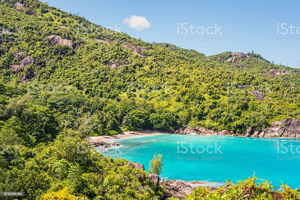 Fantastic Anse Major Beach - Mahe Island, Seychelles stock photo