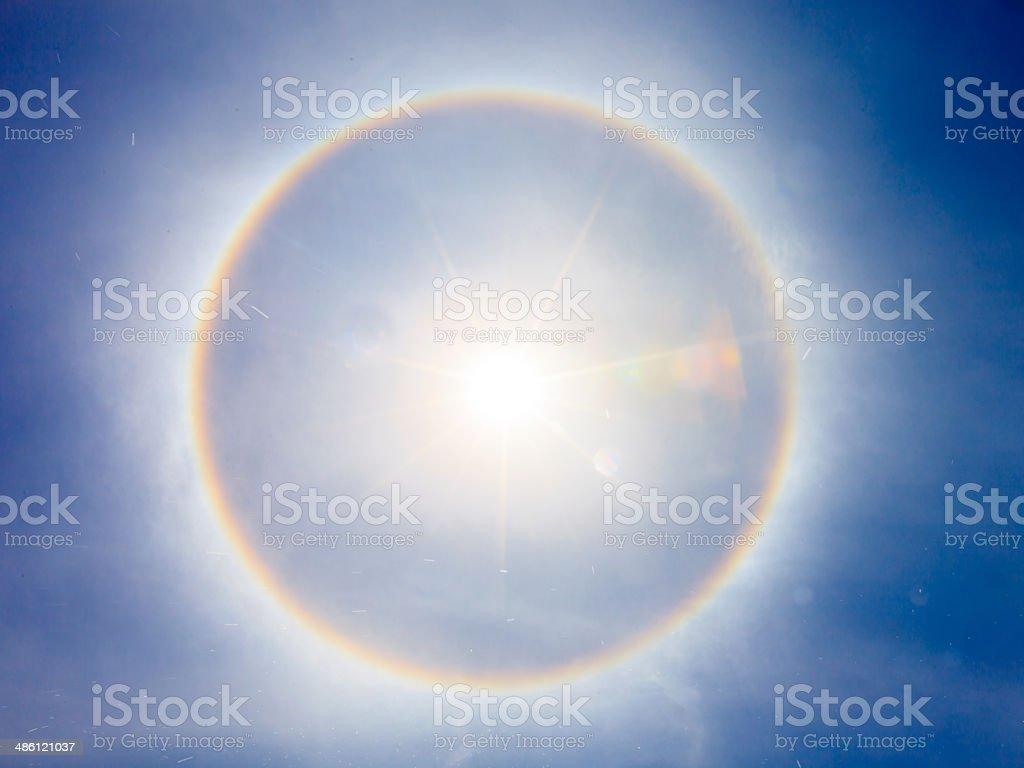 fantastic beautiful sun halo phenomenon in thailand stock photo
