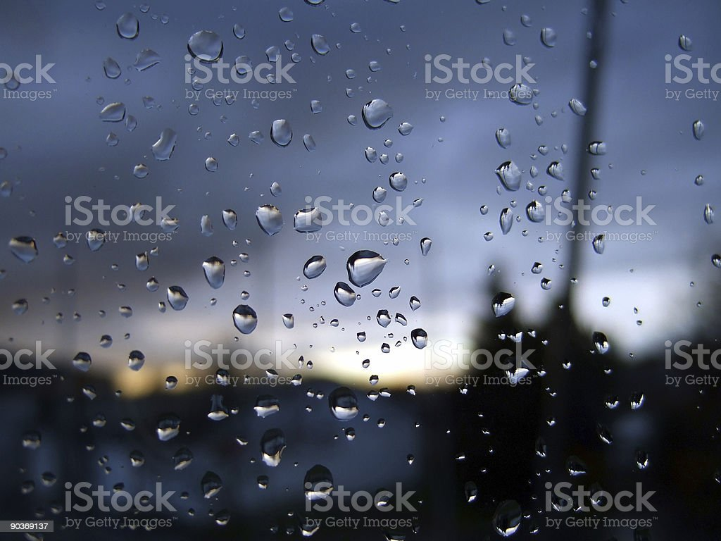 fantastic blue drops on window royalty-free stock photo