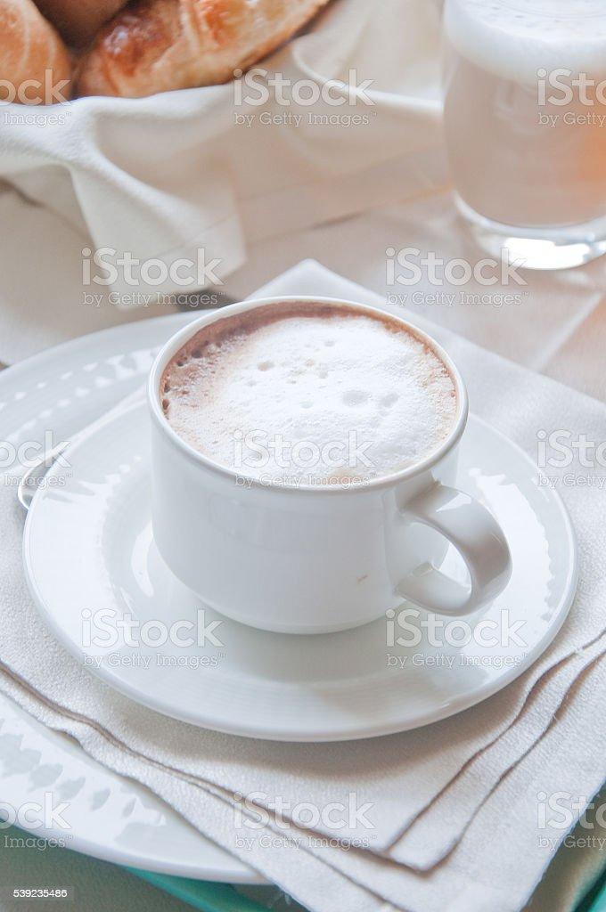Fantastic breakfast of cappuccino, croissants , orange juice an stock photo