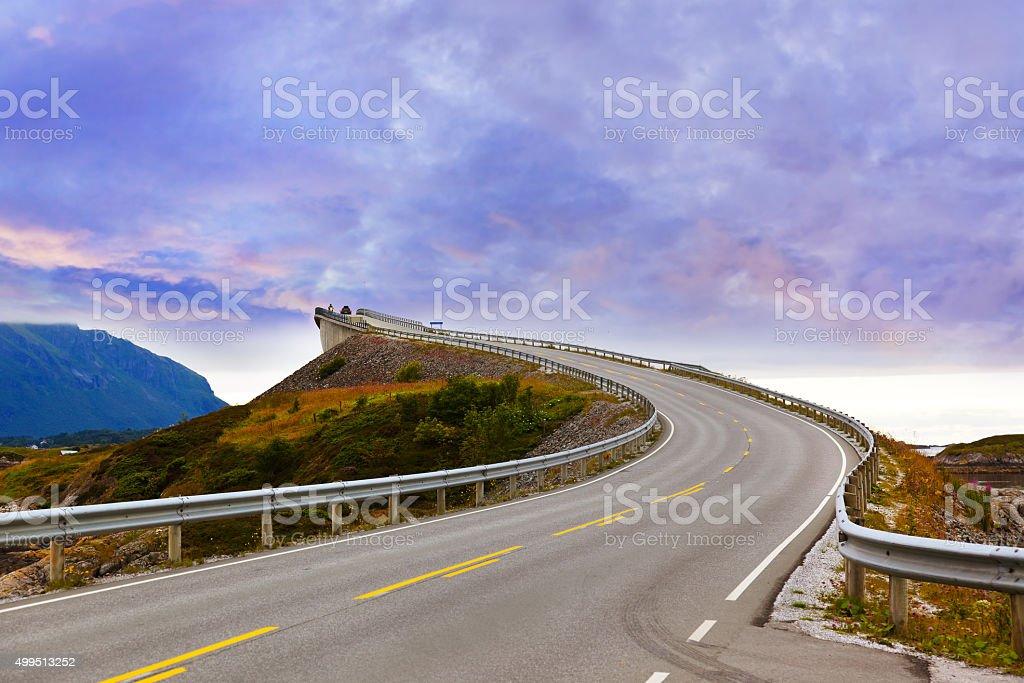 Fantastic bridge on the Atlantic road in Norway stock photo