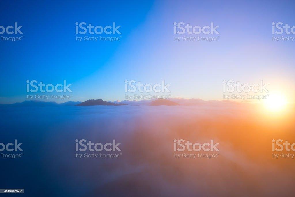 Fantastic cloudscape and sun. stock photo