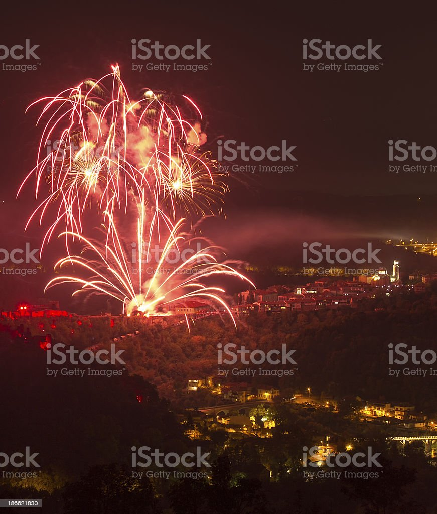Fantastic colorful fireworks royalty-free stock photo