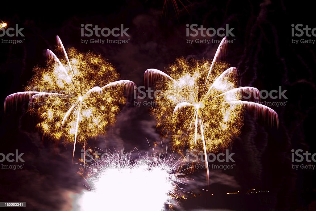 Fantastic colorful fireworks with black copyspace, perfect for t royalty-free stock photo