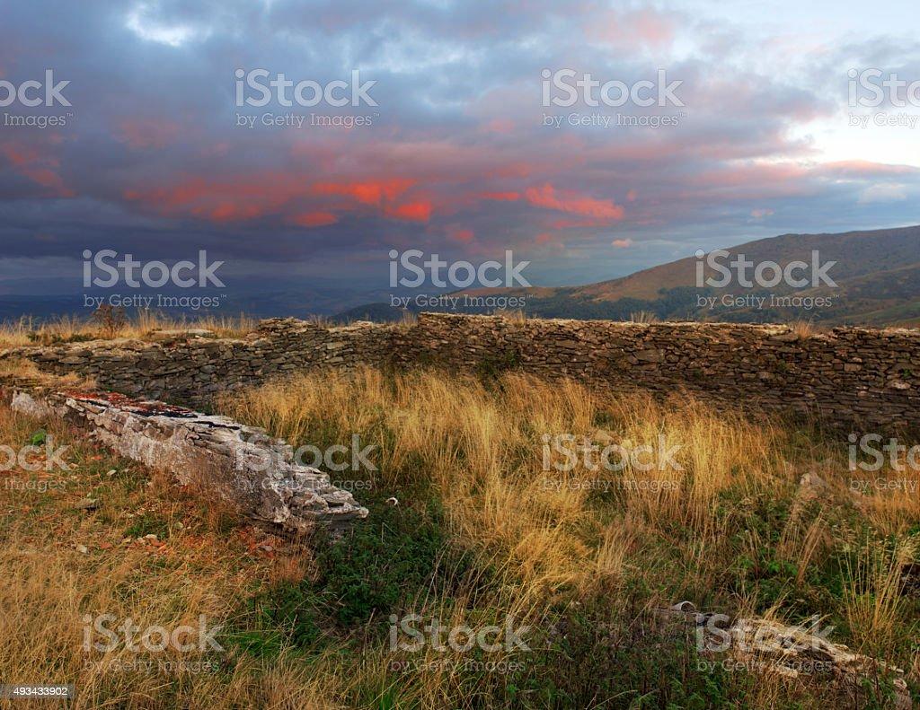 Fantastic colors autumn landscape in the Carpathian mountains. B stock photo