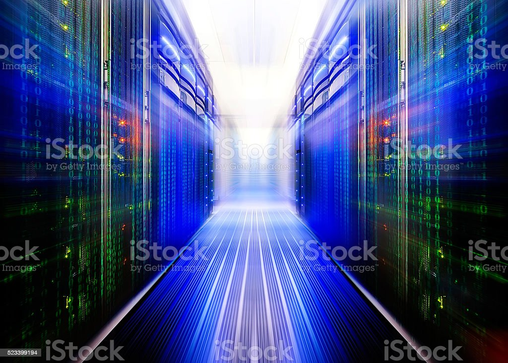 fantastic data center with a binary code penetrating supercomputers stock photo