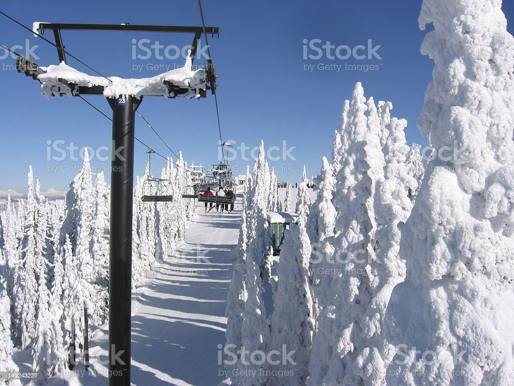 Fantastic day for skiing stock photo